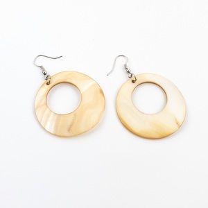 Abalone Shell Mother of Pearl Hoop Dangle Earrings